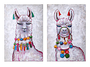 Ideal Llama Party Oil Painting (Set of 2), , large