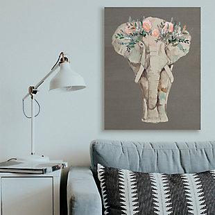 Stupell Industries  Elephant Floral Crown Pink Green Elegant Flower Print, 36 x 48, Canvas Wall Art, Brown, rollover