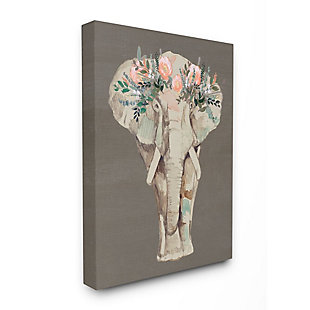 Stupell Industries  Elephant Floral Crown Pink Green Elegant Flower Print, 36 x 48, Canvas Wall Art, Brown, large