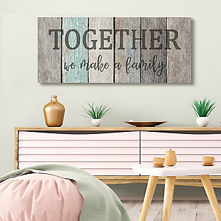 Stupell Industries  Together We Make a Family Quote Rustic Sign Home Text, 20 x 48, Canvas Wall Art, Multi, rollover