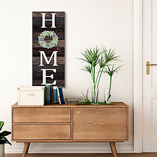Stupell Industries Welcome Home Sign Green Succulent Wreath Greeting, 17 X 40, Canvas Wall Art, Brown, large