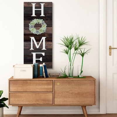 Stupell Industries Welcome Home Sign Green Succulent Wreath Greeting, 20 X 48, Canvas Wall Art, Brown, large