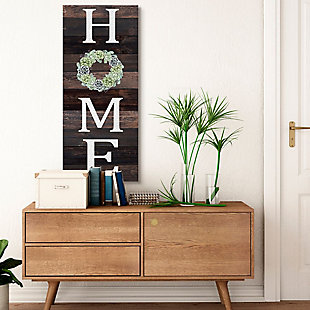Stupell Industries Welcome Home Sign Green Succulent Wreath Greeting, 20 X 48, Canvas Wall Art, Brown, rollover