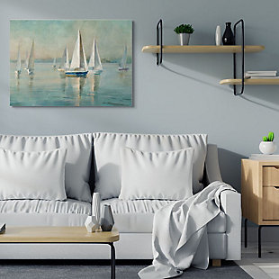 Stupell Industries  Traditional Sailboats Water Lake Relaxed Nautical Painting, 36 x 48, Canvas Wall Art, Blue, rollover