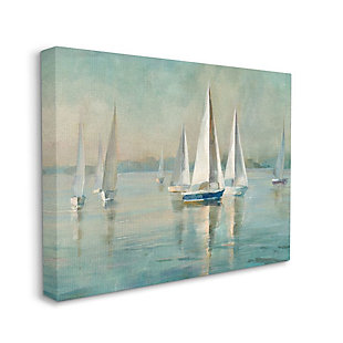 Stupell Industries  Traditional Sailboats Water Lake Relaxed Nautical Painting, 36 x 48, Canvas Wall Art, Blue, large
