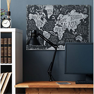 Stupell Industries  Children's Mythical Creatures Fantasy Black White Chalk Map, 36 x 48, Canvas Wall Art, Black, rollover