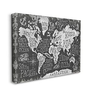 Stupell Industries  Children's Mythical Creatures Fantasy Black White Chalk Map, 36 x 48, Canvas Wall Art, Black, large