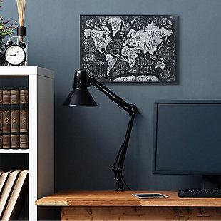 Stupell Industries  Children's Mythical Creatures Fantasy Black White Chalk Map, 24 x 30, Framed Wall Art, Black, rollover