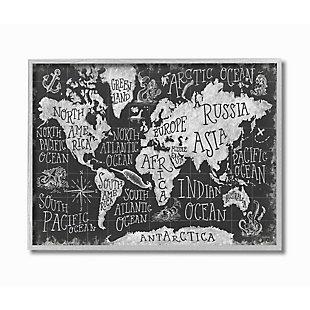 Stupell Industries  Children's Mythical Creatures Fantasy Black White Chalk Map, 16 x 20, Framed Wall Art, Black, large