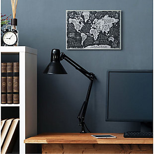 Stupell Industries  Children's Mythical Creatures Fantasy Black White Chalk Map, 13 x 19, Wood Wall Art, Black, rollover