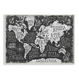 Stupell Industries  Children's Mythical Creatures Fantasy Black White Chalk Map, 13 x 19, Wood Wall Art, Black, large