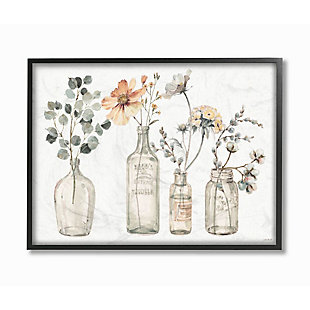Stupell Industries Antique Floral Bouquets Flowers Glass Jar Painting, 24 X 30, Framed Wall Art, Multi, large