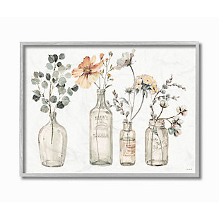 Stupell Industries  Antique Floral Bouquets Flowers Glass Jar Painting, 16 x 20, Framed Wall Art, Multi, large