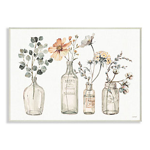 Stupell Industries  Antique Floral Bouquets Flowers Glass Jar Painting, 13 x 19, Wood Wall Art, Multi, large