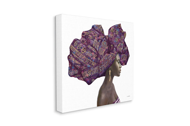 Stupell Industries  Female Portrait Strong Headwrap Purple Gold Culture Artwork, 36 x 36, Canvas Wall Art, Multi, large