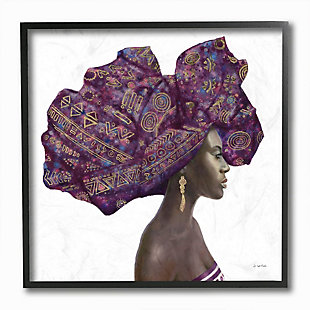 Stupell Industries  Female Portrait Strong Headwrap Purple Gold Culture Artwork, 12 x 12, Framed Wall Art, , large