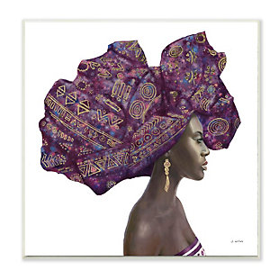 Stupell Industries  Female Portrait Strong Headwrap Purple Gold Culture Artwork, 12 x 12, Wood Wall Art, , large