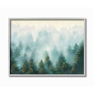 Stupell Industries Abstract Pine Forest Landscape With Mist Green Painting, 16 X 20, Framed Wall Art, Green, large