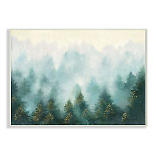 Stupell Industries  Abstract Pine Forest Landscape with Mist Green Painting, 13 x 19, Wood Wall Art, Green, large