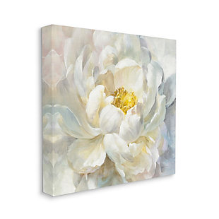 Stupell Industries  Delicate Flower Petals Soft White Yellow Painting, 36 x 36, Canvas Wall Art, Off White, large