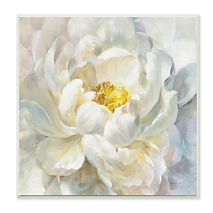 Stupell Industries  Delicate Flower Petals Soft White Yellow Painting, 12 x 12, Wood Wall Art, , large