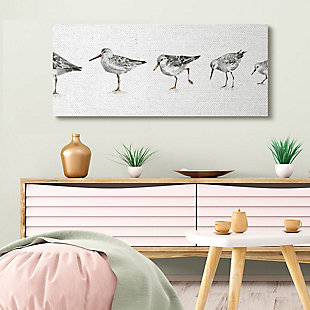 Stupell Industries  Sandpiper Bird Stances Minimal Grey White Painting, 20 x 48, Canvas Wall Art, Gray, rollover