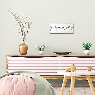 Stupell Industries  Sandpiper Bird Stances Minimal Grey White Painting, 7 x 17, Wood Wall Art, , rollover