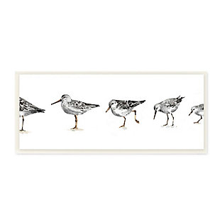 Stupell Industries  Sandpiper Bird Stances Minimal Grey White Painting, 7 x 17, Wood Wall Art, , large