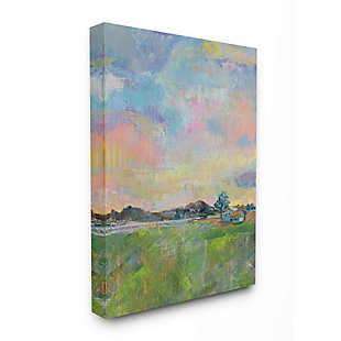 Stupell Industries  Spring Meadow Sky with Field House Pastel Painting, 36 x 48, Canvas Wall Art, Multi, large