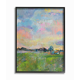 Stupell Industries  Spring Meadow Sky with Field House Pastel Painting, 24 x 30, Framed Wall Art, Multi, large
