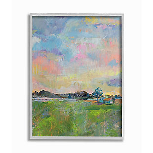 Stupell Industries  Spring Meadow Sky with Field House Pastel Painting, 16 x 20, Framed Wall Art, Multi, large