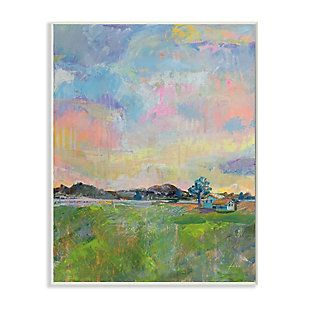 Stupell Industries  Spring Meadow Sky with Field House Pastel Painting, 13 x 19, Wood Wall Art, Multi, large