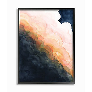 Stupell Industries  Storm Cloud Abstraction at Sunset Watercolor, 24 x 30, Framed Wall Art, Blue, large