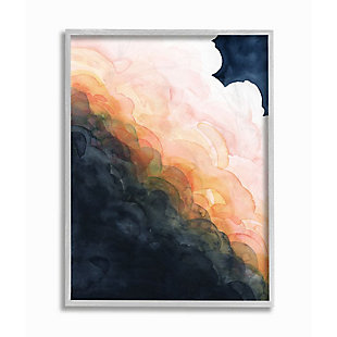 Stupell Industries  Storm Cloud Abstraction at Sunset Watercolor, 16 x 20, Framed Wall Art, Blue, large
