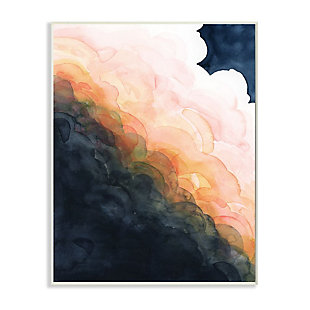 Stupell Industries  Storm Cloud Abstraction at Sunset Watercolor, 13 x 19, Wood Wall Art, Blue, large