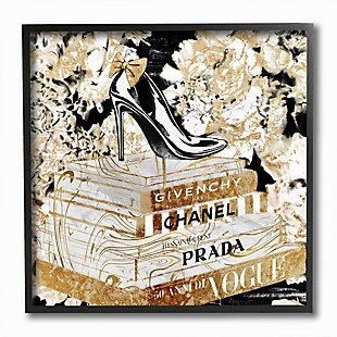 Stupell Industries Fashion Heels And Books Black Gold Designer Details, 12 X 12, Framed Wall Art, Black, large