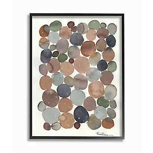 Stupell Industries  Earth Tone Organic Circles Abstract Cobblestone Design, 24 x 30, Framed Wall Art, Off White, large