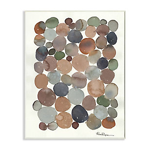 Stupell Industries  Earth Tone Organic Circles Abstract Cobblestone Design, 13 x 19, Wood Wall Art, Off White, large