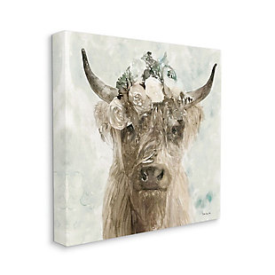 Stupell Industries Delicate Soft Buffalo With Floral Crown Watercolor, 36 X 36, Canvas Wall Art, Green, large