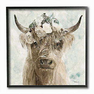Stupell Industries  Delicate Soft Buffalo with Floral Crown Watercolor, 12 x 12, Framed Wall Art, , large