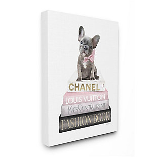 Stupell Industries  Dashing French Bulldog and Iconic Fashion Bookstack, 36 x 48, Canvas Wall Art, White, large