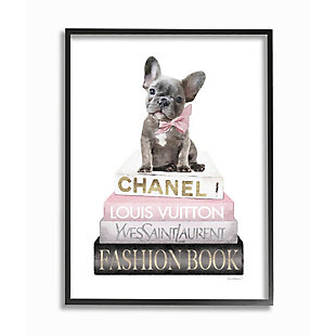 Stupell Industries  Dashing French Bulldog and Iconic Fashion Bookstack, 24 x 30, Framed Wall Art, White, large