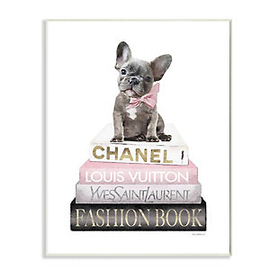 Stupell Industries  Dashing French Bulldog and Iconic Fashion Bookstack, 13 x 19, Wood Wall Art, White, large