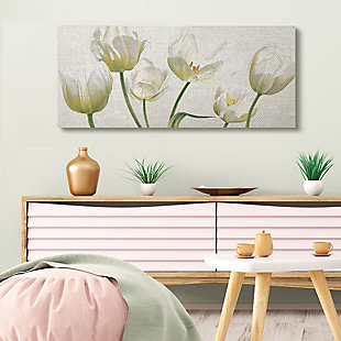 Stupell Industries Soft White Blooming Tulip Petals Floral Details, 20 X 48, Canvas Wall Art, Off White, rollover