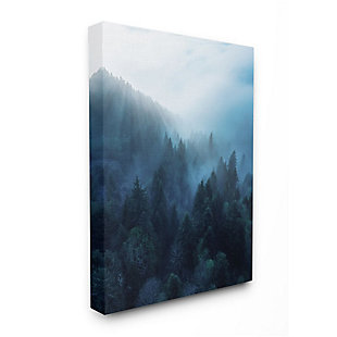 Stupell Industries  Daylight over Pine Forest Mountain with Fog, 36 x 48, Canvas Wall Art, Blue, large