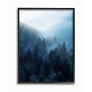 Stupell Industries  Daylight over Pine Forest Mountain with Fog, 24 x 30, Framed Wall Art, Blue, large