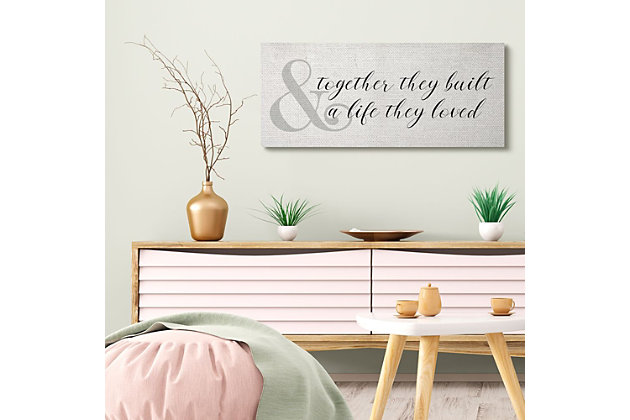 Stupell Industries  Built A Life They Loved Rustic Romance with Ampersand, 17 x 40, Canvas Wall Art, Off White, large