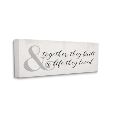 Stupell Industries  Built A Life They Loved Rustic Romance with Ampersand, 20 x 48, Canvas Wall Art, Off White, large