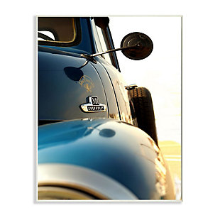 Stupell Industries  Vintage Automobile Side Detail Truck Photograph, 13 x 19, Wood Wall Art, Blue, large