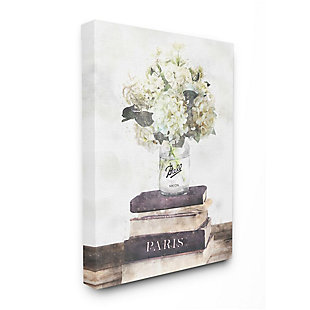 Stupell Industries  Delicate White Florals on Parisian Bookstack, 36 x 48, Canvas Wall Art, Off White, large